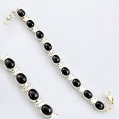 38.46cts natural black obsidian eye 925 sterling silver tennis bracelet r4741