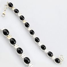 37.97cts natural black obsidian eye 925 sterling silver tennis bracelet r4742