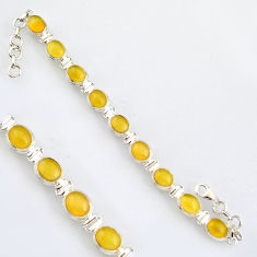 36.85cts natural yellow opal 925 sterling silver tennis bracelet r4743