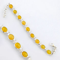925 sterling silver 36.06cts natural yellow opal oval tennis bracelet r4744