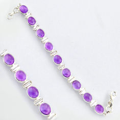 39.48cts natural purple amethyst 925 sterling silver tennis bracelet r4747