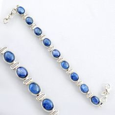 37.85cts natural blue kyanite 925 sterling silver tennis bracelet jewelry r4751