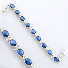 34.67cts natural blue kyanite 925 sterling silver tennis bracelet jewelry r4754
