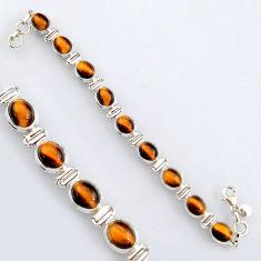 925 sterling silver 35.80cts natural brown tiger's eye tennis bracelet r4756