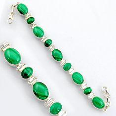 39.20cts natural green malachite (pilot's stone) silver tennis bracelet r4757