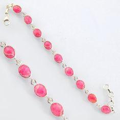 27.51cts natural pink rhodochrosite inca rose 925 silver tennis bracelet r4758