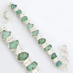 46.77cts natural aqua aquamarine rough 925 sterling silver tennis bracelet r4760