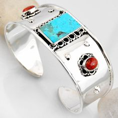 16.82cts blue arizona mohave turquoise 925 silver adjustable bangle r4921