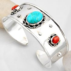 18.27cts blue arizona mohave turquoise 925 silver adjustable bangle r4922