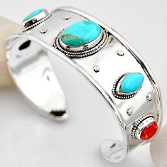 26.13cts blue arizona mohave turquoise 925 silver adjustable bangle r4923