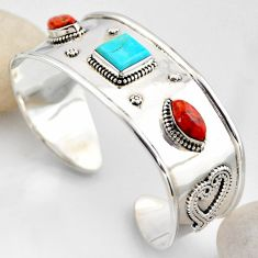 925 silver 18.54cts blue arizona mohave turquoise adjustable bangle r4924