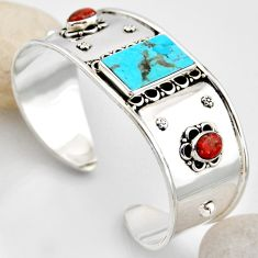 19.58cts blue arizona mohave turquoise 925 silver adjustable bangle r4925