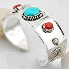 18.68cts blue arizona mohave turquoise 925 silver adjustable bangle r4926