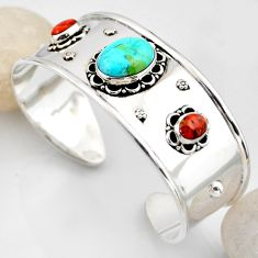 17.98cts blue arizona mohave turquoise 925 silver adjustable bangle r4927
