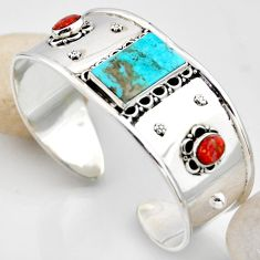 925 silver 20.38cts blue arizona mohave turquoise adjustable bangle r4928