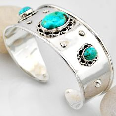 16.21cts blue arizona mohave turquoise 925 silver adjustable bangle r4929