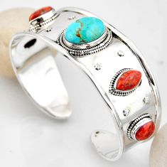 26.08cts blue arizona mohave turquoise 925 silver adjustable bangle r4930