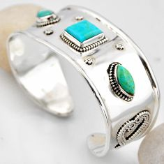 925 silver 18.38cts blue arizona mohave turquoise adjustable bangle r4932