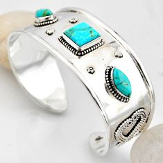 19.62cts blue arizona mohave turquoise 925 silver adjustable bangle r4933