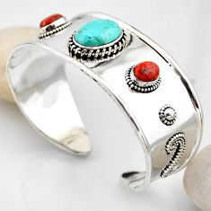 17.97cts blue arizona mohave turquoise 925 silver adjustable bangle r4934
