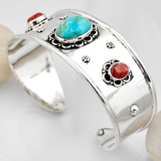 925 silver 16.27cts blue arizona mohave turquoise adjustable bangle r4935
