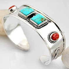16.02cts blue arizona mohave turquoise 925 silver adjustable bangle r4936