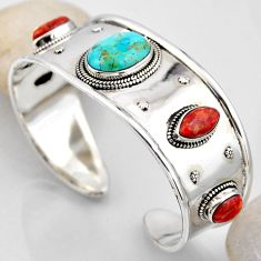 27.33cts blue arizona mohave turquoise 925 silver adjustable bangle r4937