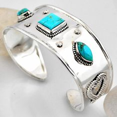 925 silver 14.10cts blue arizona mohave turquoise adjustable bangle r4938