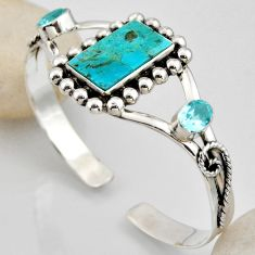16.55cts blue arizona mohave turquoise topaz 925 silver adjustable bangle r4939