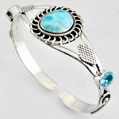 15.41cts natural blue larimar topaz 925 sterling silver adjustable bangle r4941