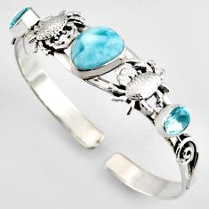 12.52cts natural blue larimar topaz 925 silver crab adjustable bangle r4942