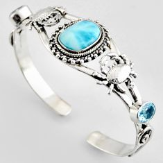 14.88cts natural blue larimar topaz 925 silver crab adjustable bangle r4943