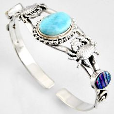 925 silver 14.62cts natural blue larimar crab adjustable bangle jewelry r4945