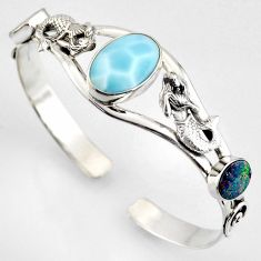 15.22cts natural blue larimar 925 silver fairy mermaid adjustable bangle r4946