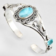 14.72cts fish natural blue larimar topaz 925 silver fish adjustable bangle r4948