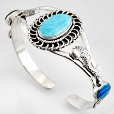 16.38cts fish natural blue larimar 925 silver fish adjustable bangle r4949