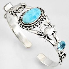15.32cts natural blue larimar topaz 925 silver crab adjustable bangle r4950