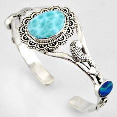 925 silver 19.70cts natural blue larimar fish adjustable bangle jewelry r4951
