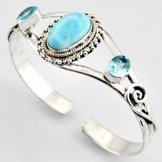 17.13cts natural blue larimar topaz 925 sterling silver adjustable bangle r4952