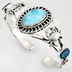 17.51cts natural blue larimar 925 silver crab adjustable bangle r4953
