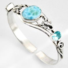 17.04cts natural blue larimar topaz 925 silver scorpion adjustable bangle r4954
