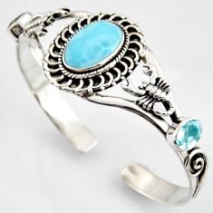 17.71cts natural blue larimar topaz 925 silver scorpion adjustable bangle r4955