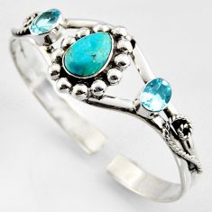 925 silver 11.60cts green arizona mohave turquoise topaz adjustable bangle r4956