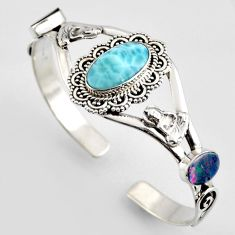 13.48cts natural blue larimar 925 silver buddha charm adjustable bangle r4957