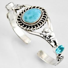 18.93cts natural blue larimar topaz 925 silver elephant adjustable bangle r4958