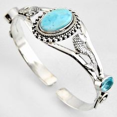 925 silver 16.82cts fish natural blue larimar topaz fish adjustable bangle r4959