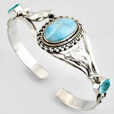 15.58cts natural blue larimar topaz 925 silver dolphin adjustable bangle r4960