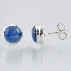 5.92cts natural blue kyanite 925 sterling silver stud earrings jewelry r1005