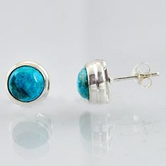 6.15cts natural blue chrysocolla 925 sterling silver stud earrings jewelry r1014