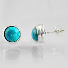 5.83cts natural blue chrysocolla 925 sterling silver stud earrings jewelry r1015